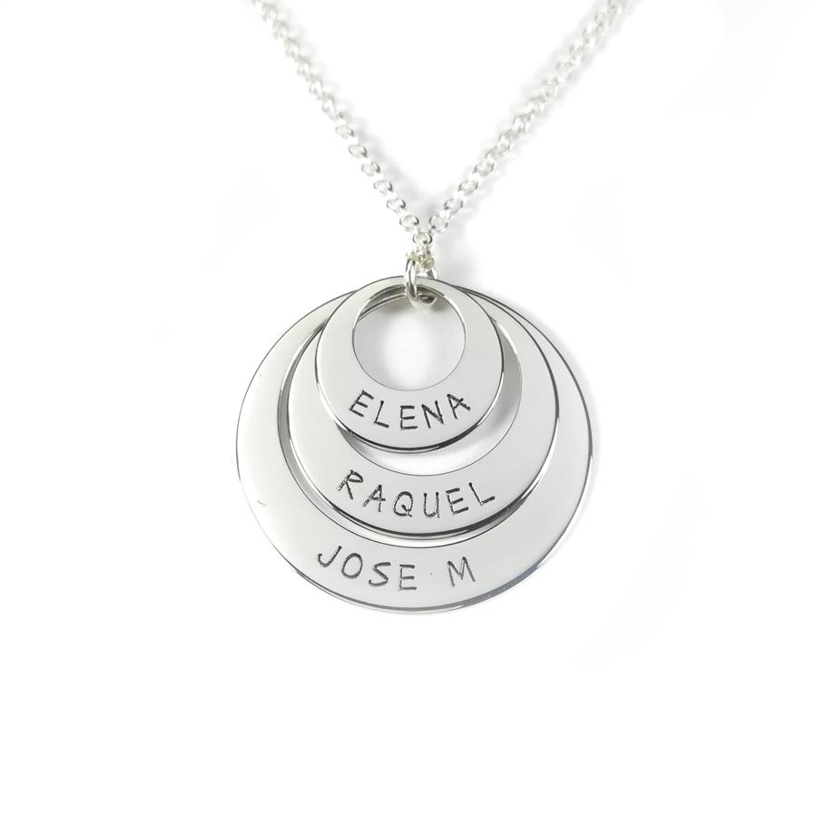 c4fad7fd241c Collar tres aros personalizados con nombre plata de ley 925 x 1 und