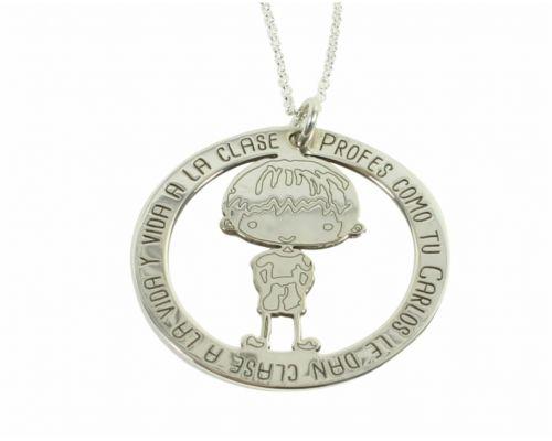 Colgante Frase Niño con el nombre del profe 35 mm Plata de ley 925 regalo fin curso regalo profe